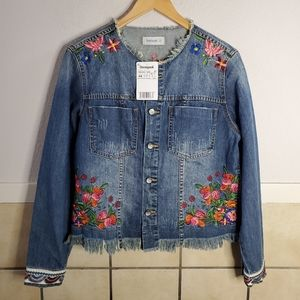 Desigual Embroidered denim jacket in distressed lo